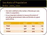 sex ratio of population india 2001 2011