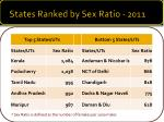 states ranked by sex ratio 2011
