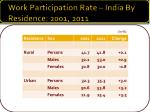 work participation rate india by residence 2001 2011