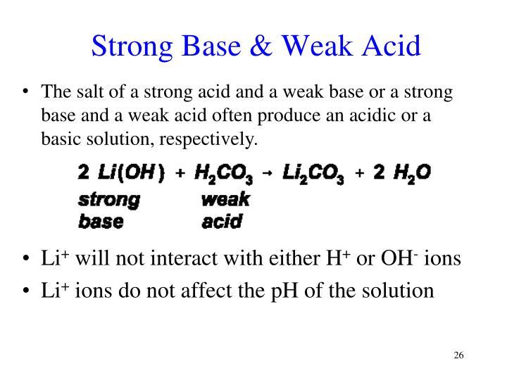 Strong Base & Weak Acid