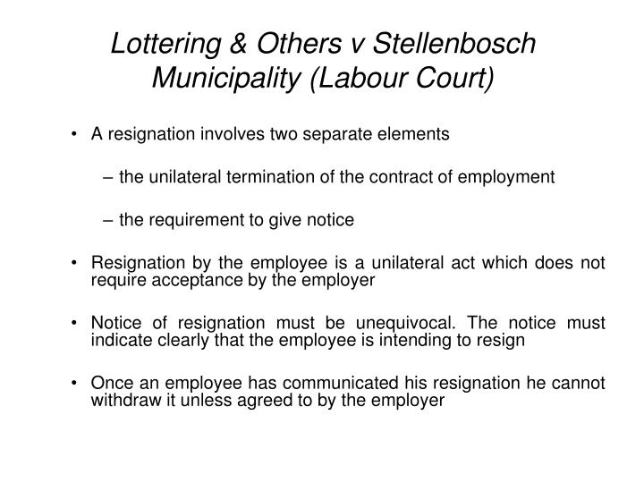 Lottering others v stellenbosch municipality labour court