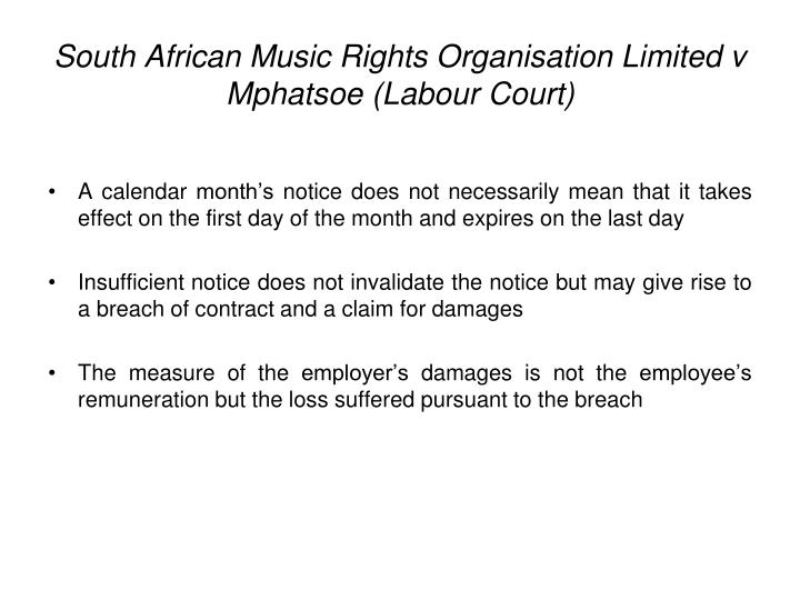 South African Music Rights Organisation Limited v Mphatsoe (Labour Court)