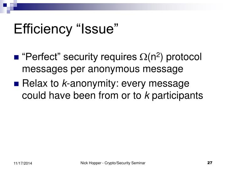 """Efficiency """"Issue"""""""