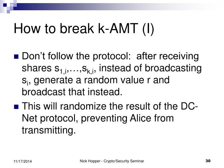 How to break k-AMT (I)