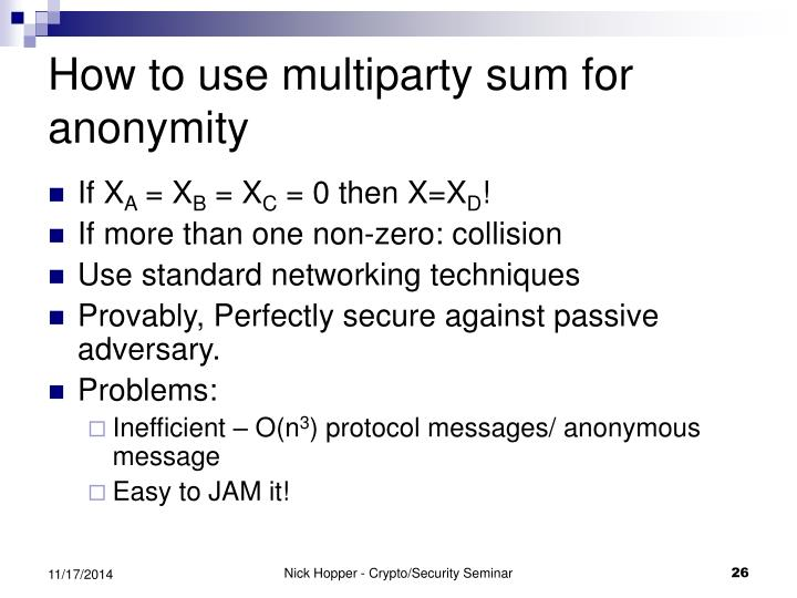 How to use multiparty sum for anonymity