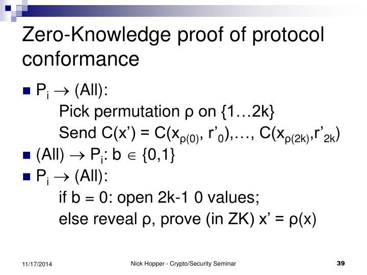 Zero-Knowledge proof of protocol conformance