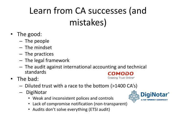 Learn from CA successes (and mistakes)