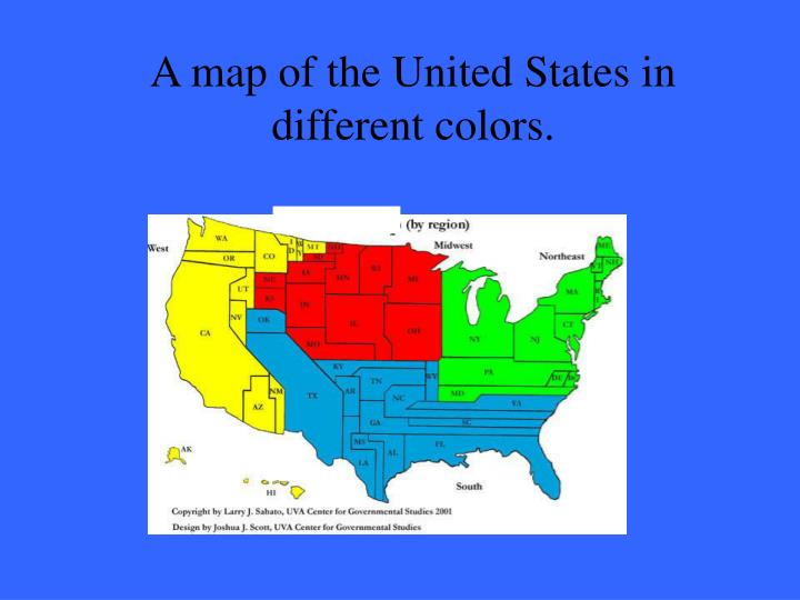 A map of the United States in different colors.