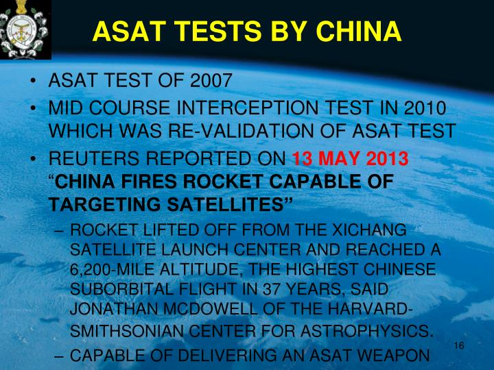 ASAT TESTS BY CHINA