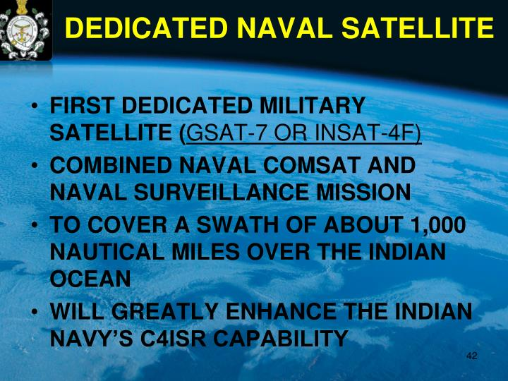 FIRST DEDICATED MILITARY SATELLITE (