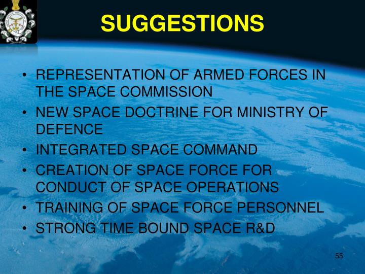 REPRESENTATION OF ARMED FORCES IN THE SPACE COMMISSION
