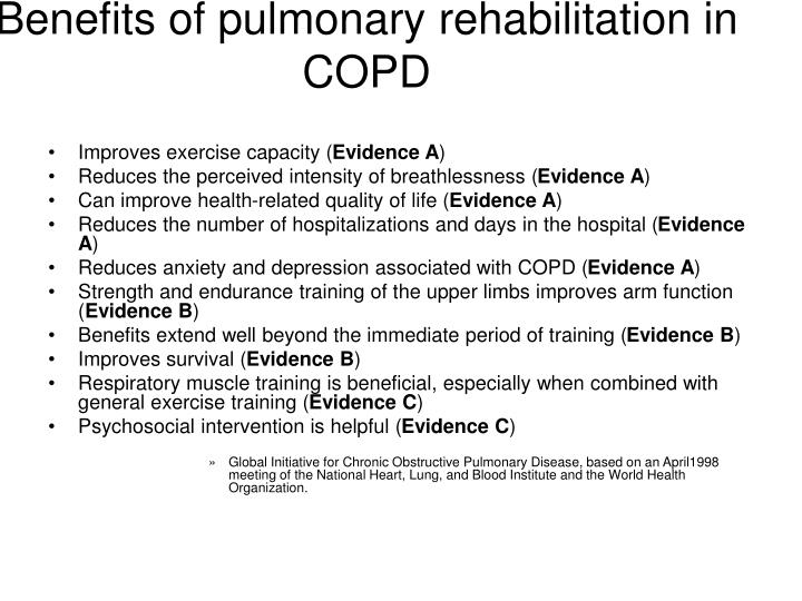 Benefits of pulmonary rehabilitation in COPD
