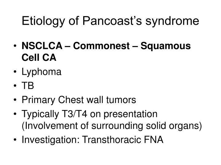 Etiology of Pancoast's syndrome
