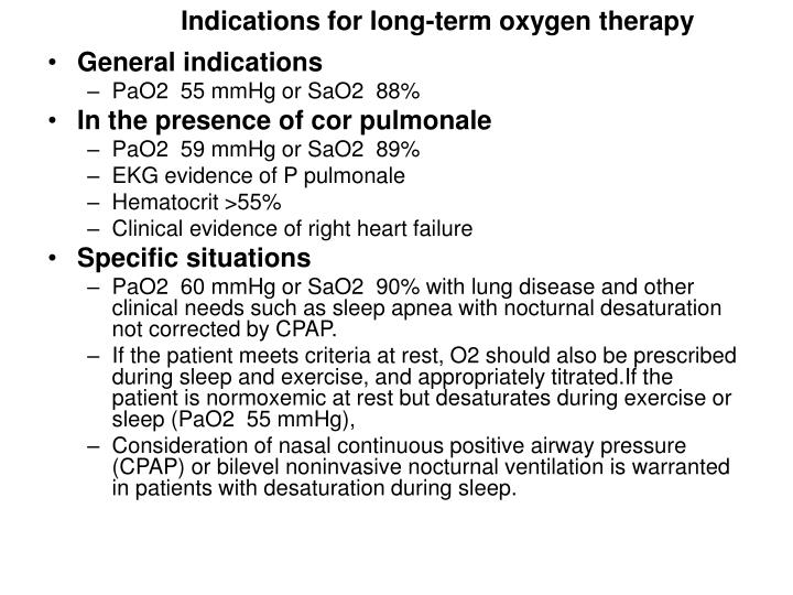 Indications for long-term oxygen therapy