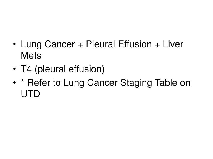 Lung Cancer + Pleural Effusion + Liver Mets