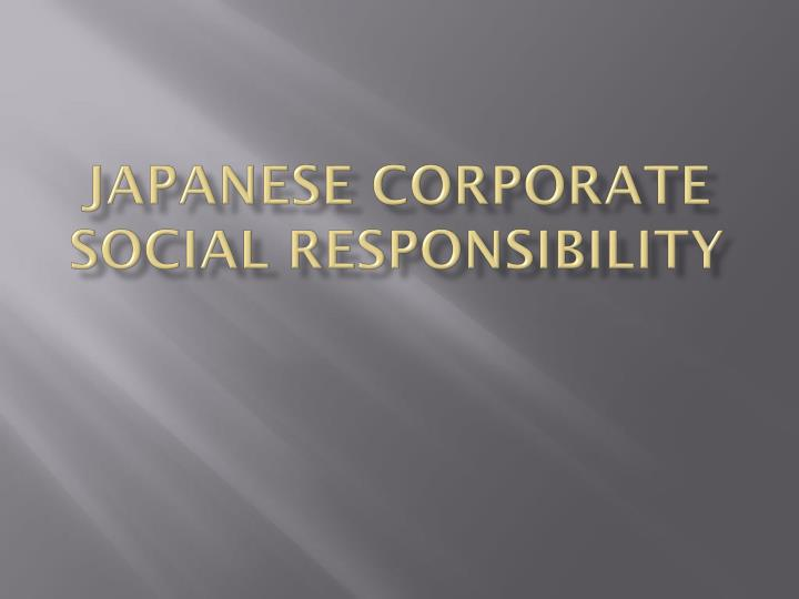 japanese corporate social responsibility n.