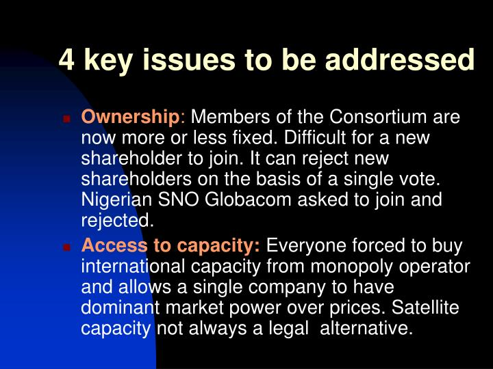 4 key issues to be addressed