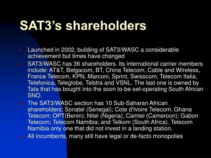 SAT3's shareholders