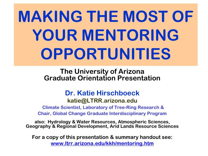 making the most of your mentoring opportunities n.