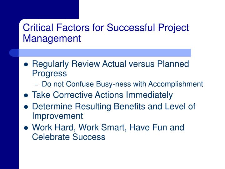 Critical Factors for Successful Project Management