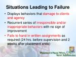 situations leading to failure