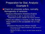 preparation for stat analysis example 5