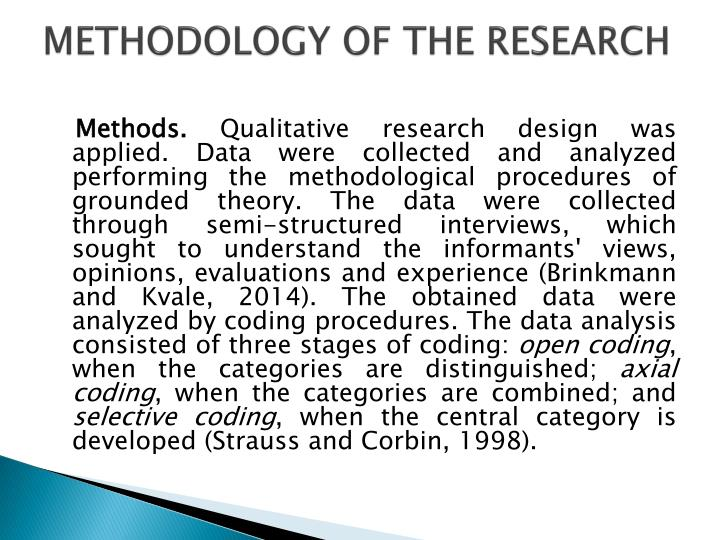 METHODOLOGY OF THE RESEARCH