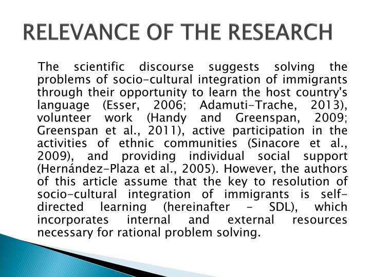 Relevance of the research1