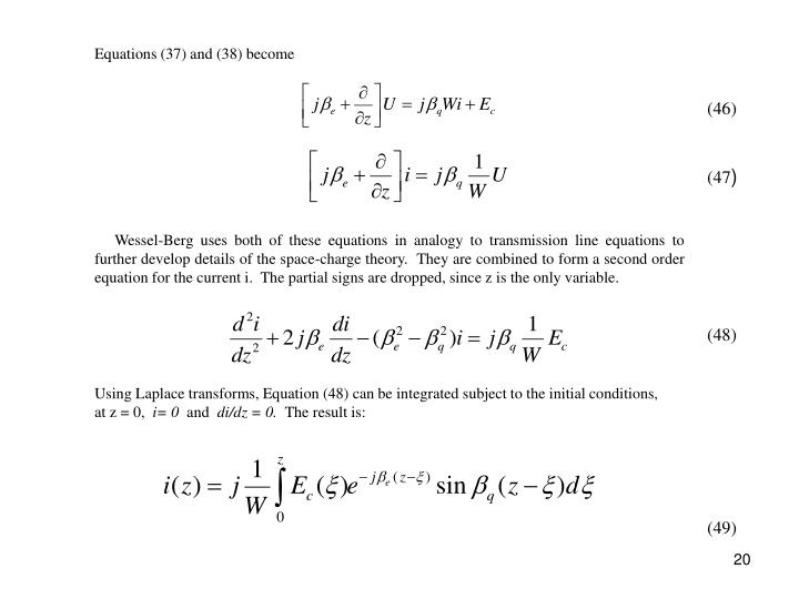 Equations (37) and (38) become