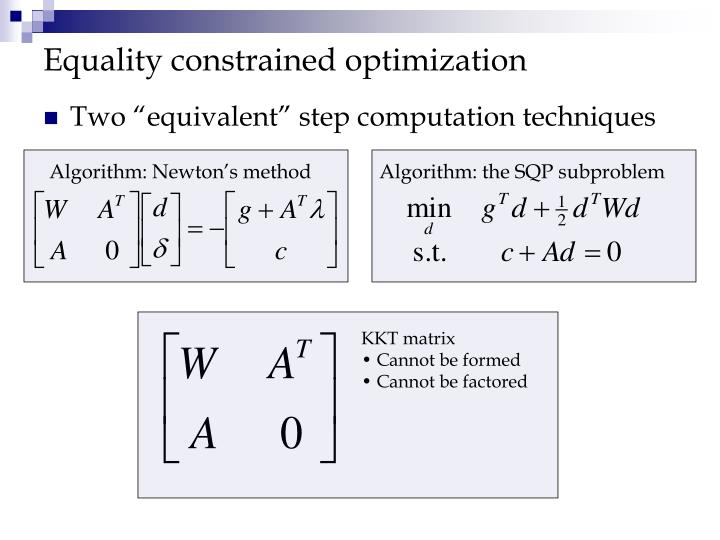 Equality constrained optimization