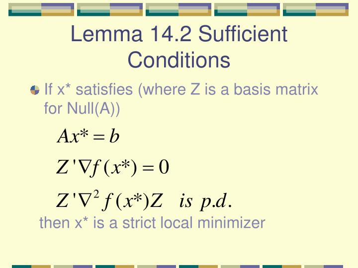 Lemma 14.2 Sufficient Conditions
