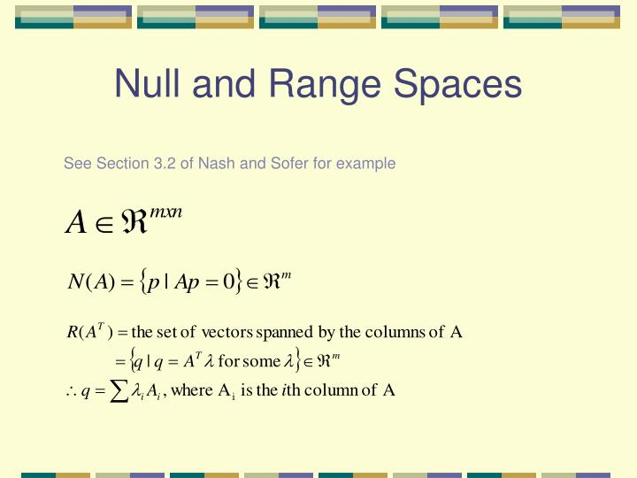 Null and Range Spaces