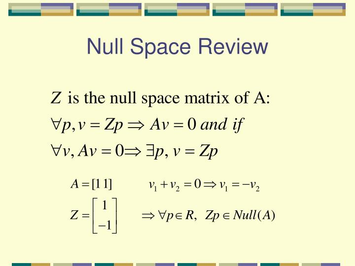 Null Space Review