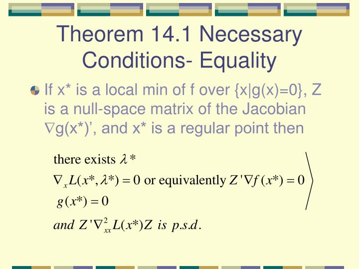 Theorem 14.1 Necessary Conditions- Equality