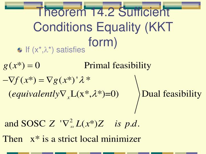 Theorem 14.2 Sufficient Conditions Equality (KKT form)
