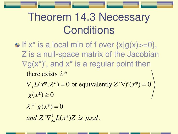 Theorem 14.3 Necessary Conditions