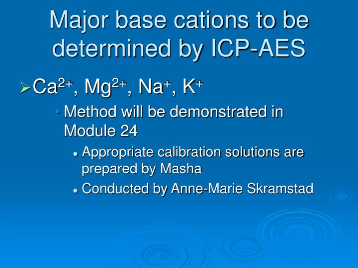 Major base cations to be determined by ICP-AES