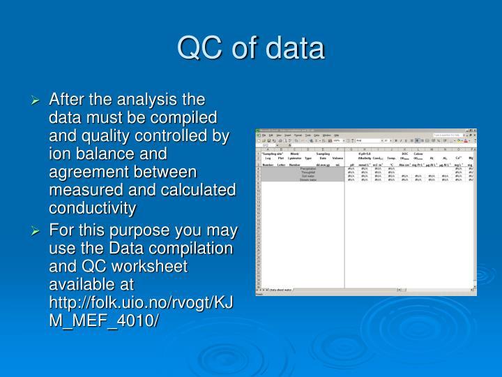 QC of data