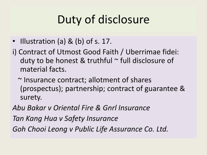 Duty of disclosure