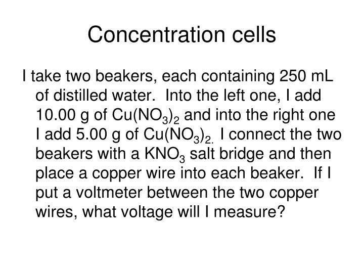 Concentration cells