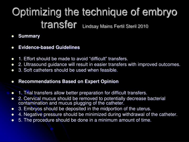 Optimizing the technique of embryo transfer