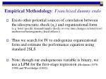 empirical methodology franchised dummy endo