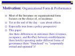 motivation organizational form performance