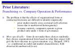 prior literature franchising vs company operation performance2