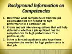 background information on competencies