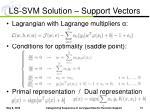 ls svm solution support vectors