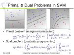 primal dual problems in svm