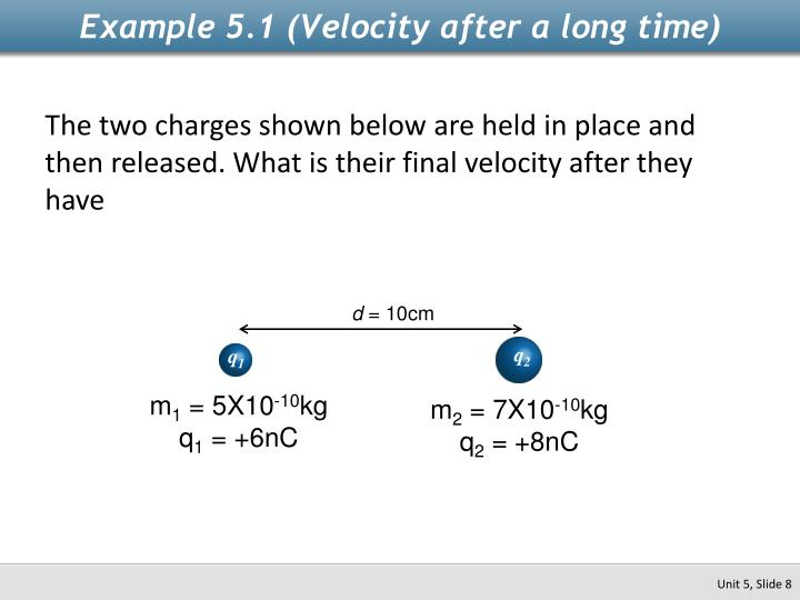 Example 5.1 (Velocity after a long time)