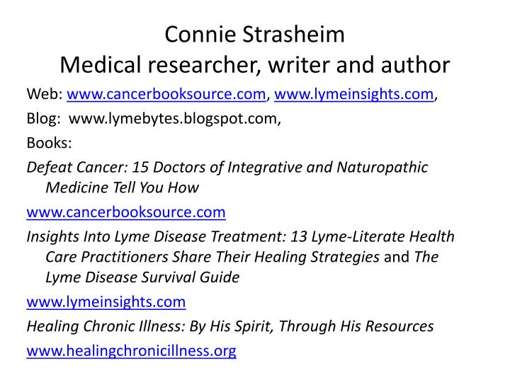 connie strasheim medical researcher writer and author n.