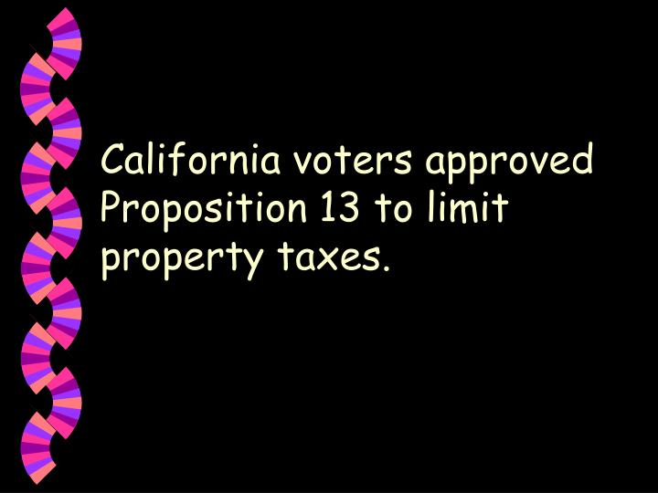 California voters approved Proposition 13 to limit property taxes.
